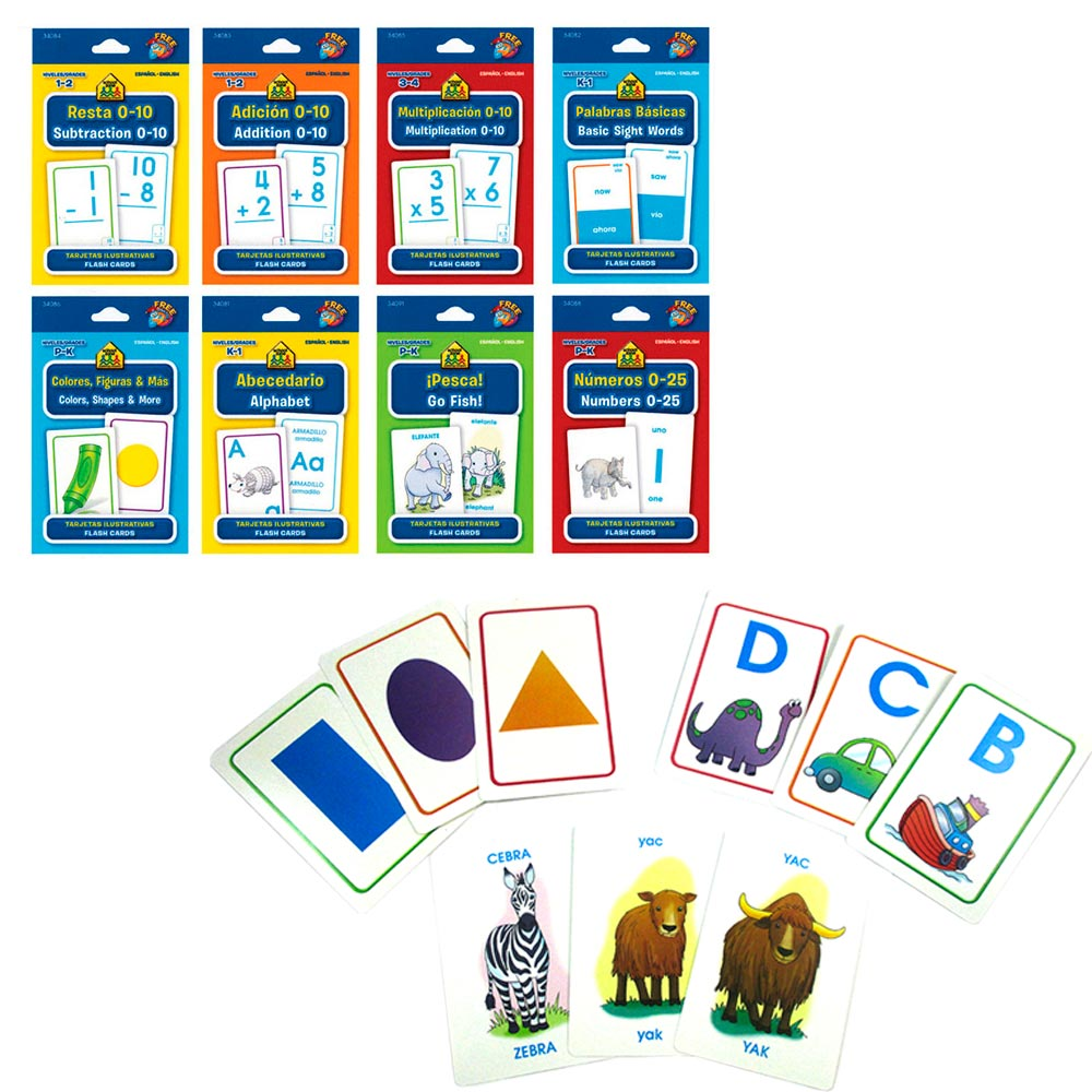 8 Early Learning Flash Cards English Spanish Math Colors Shapes Alphabet School