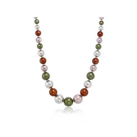Stunning Multi Color 8MM to 16MM Round Shell Pearl Necklace, 18 Inch](White Shell Necklace)