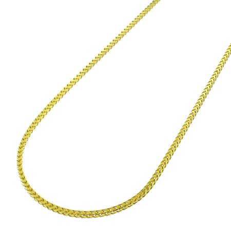 14k Yellow Gold 1mm Solid Franco Square Box Link Necklace Chain 16