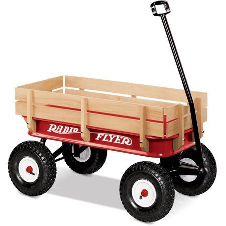 Radio Flyer, All-Terrain Steel and Wood Wagon, Air Tires, Red (Play Rabbit Wagon)