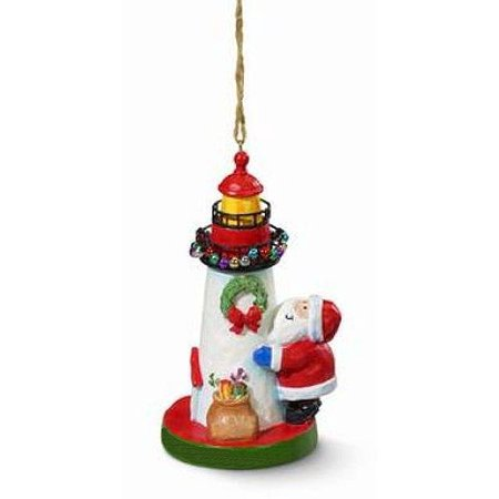 Cape Shore Santa Decorating Lighthouse Nautical Christmas Ornament Resin