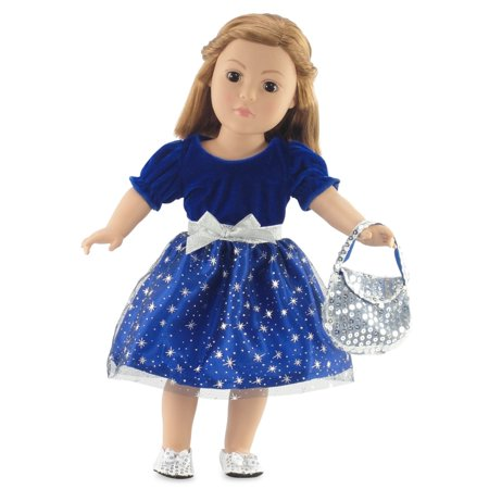 18 Inch Doll Clothes | Gorgeous Midnight Star Holiday or Party Dress Outfit with Silver Sequin Shoes and Purse | Fits 18