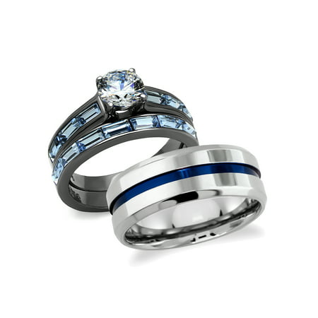 de688fb4db His and Hers Wedding Rings Set 316L Stainless Steel Cubic Zirconia Couples  Rings