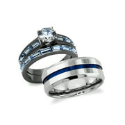 His and Hers Wedding Rings Set 316L Stainless Steel Cubic Zirconia Couples Rings
