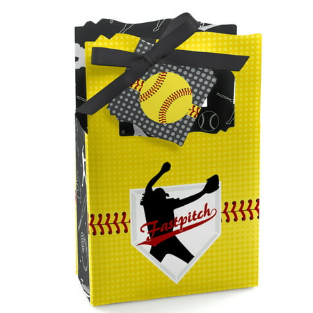 Grand Slam - Fastpitch Softball - Birthday Party or Baby Shower Favor Boxes - Set of 12 - Softball Party Favors