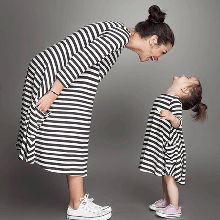 Mother Black White Striped Dress Casual Family Clothes Women Dress
