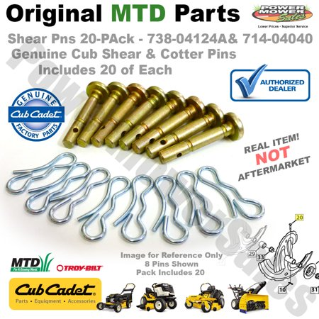 Packs Cotter Pin - Cub Cadet 738-04124A-20PK Shear Pin & Cotter Set for Snow Throwers (20 Pk)