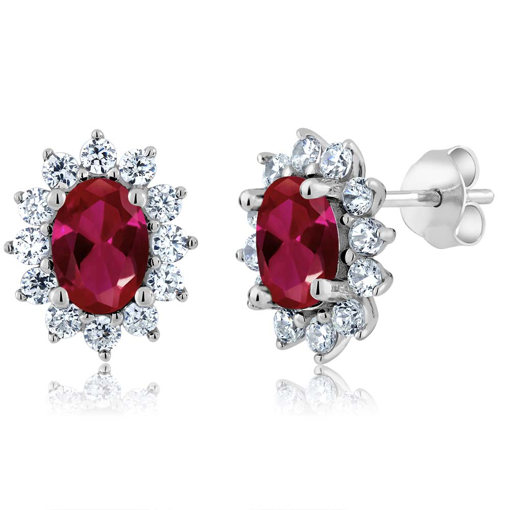 2.60 Ct Oval Red Created Ruby 925 Sterling Silver Earrings