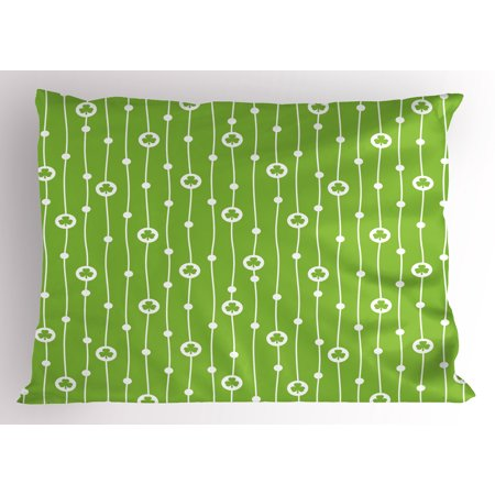 - Irish Pillow Sham Cute Trifolium on Vertical Wavy Stripes with Dots Good Luck Fortune Symbol, Decorative Standard Size Printed Pillowcase, 26 X 20 Inches, Lime Green White, by Ambesonne