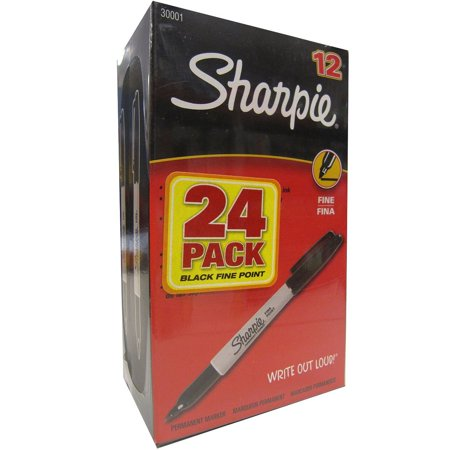 Sharpie Permanent Fine Tip Markers, Black (Pack of 24) - Sharpie 24 Pack