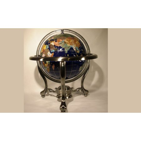 Unique Art 13-Inches Tall Table Top Blue Lapis Ocean Gemstone World Globe with Tripod Silver Leg Stand