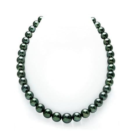 14K Gold 10-13mm Dark Green Tahitian South Sea Cultured Pearl -
