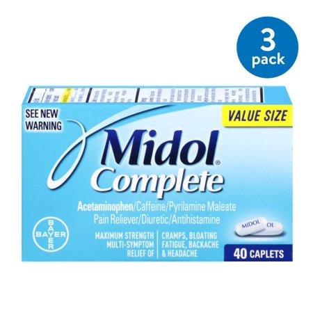 (3 Pack) Midol Complete, Menstrual Period Symptoms Relief, Caplets, 40 (Best Over The Counter Medicine For Menstrual Cramps)