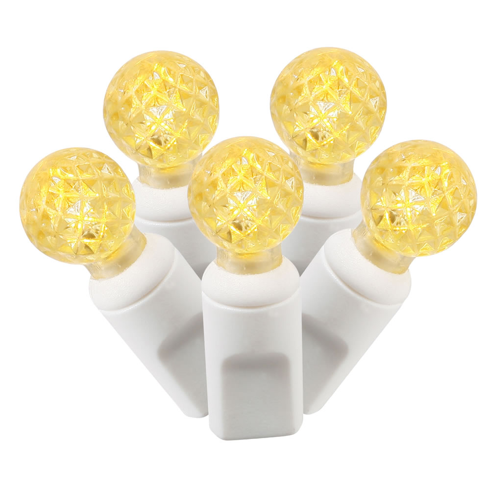 "Set of 100 Yellow Commercial Grade LED G12 Berry Christmas Lights 4"" Spacing - White Wire"