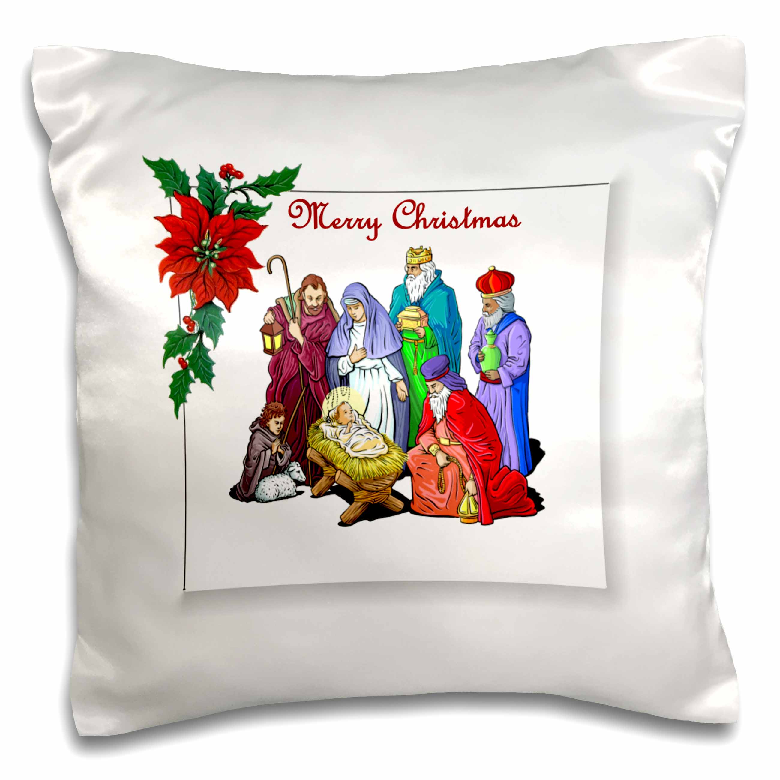 3dRose Nativity Merry Christmas, Pillow Case, 16 by 16-inch