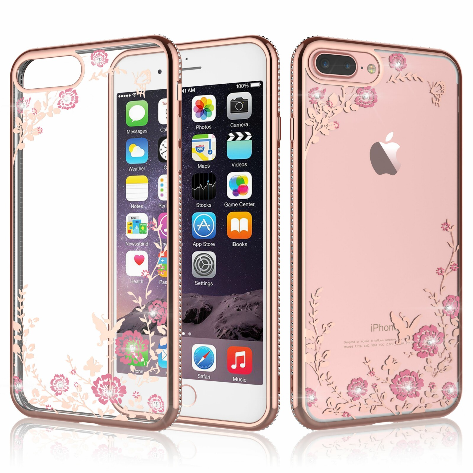 Tekcoo iPhone XS Max / XS / X / 8 Plus / 8 / 7 / 7 Plus / 6s / 6s Plus / 6 / 6 Plus Phone Case, TPU Case Luxury Bling Diamond Crystal Clear Soft TPU Silicone Back Cover with Cute Pattern