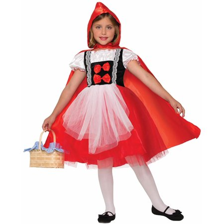 Red Riding Hood Dress With Cape Costume - Halloween Little Red Riding Hood Kids