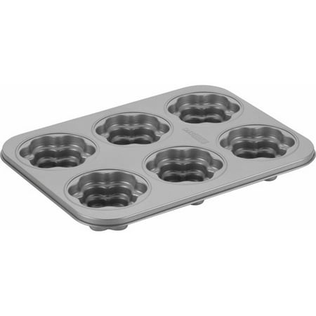Cake Boss Novelty Bakeware 6 Cup Gray Flower Cakelette