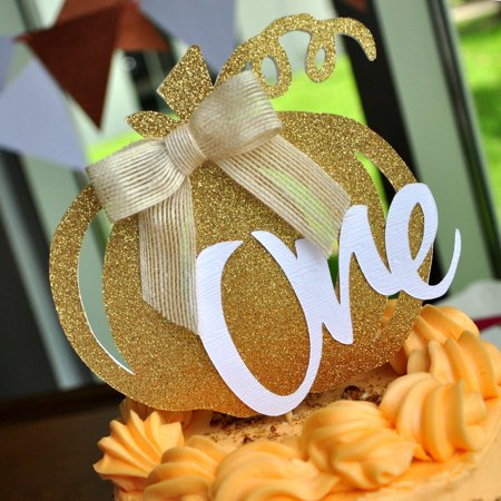 Our Little Pumpkin is Turning One Smash Cake Topper. Pumpkin Birthday Party Decorations. One Cake Topper.](Halloween Pumpkin Birthday Cake)