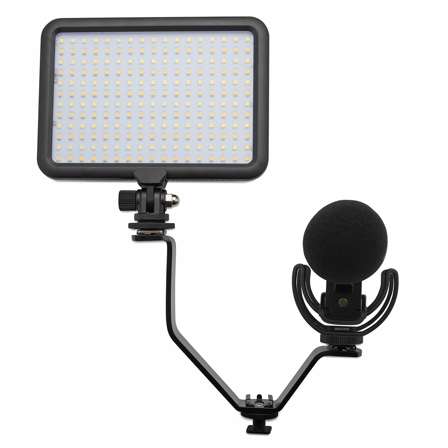 Rode Pro On-Camera Microphone with Video Light and Knox Gear Flashlight Bracket
