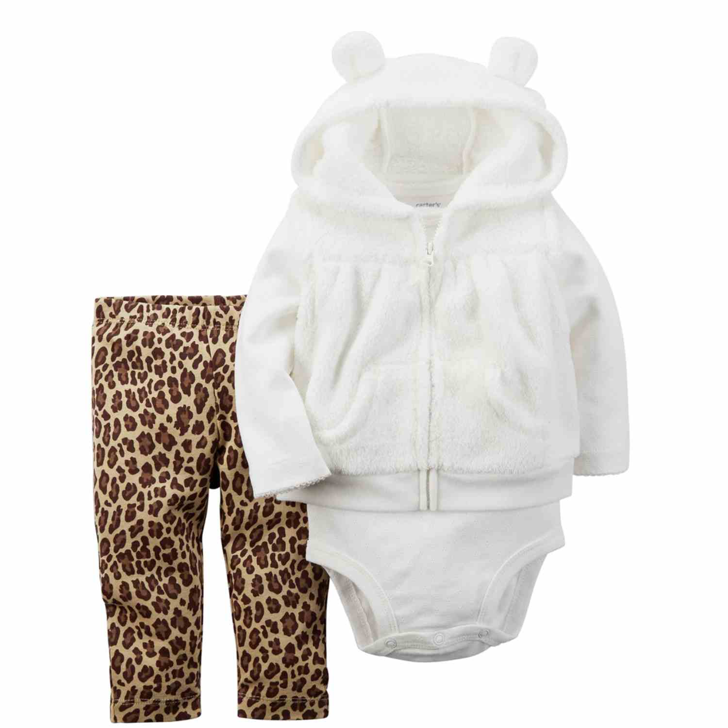 Carters Infant Girls 3 Piece Set Plush White Vest Leopard Leggings & Bodysuit