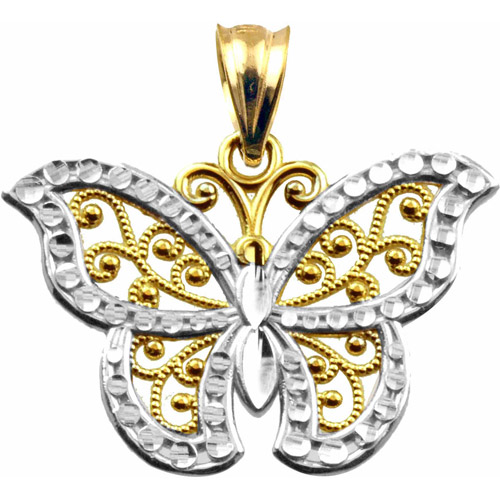 Handcrafted 10kt Gold Diamond-Cut Butterfly Charm Pendant