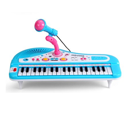 37-Key Multi-function Electronic Organ Keyboard Piano with Microphone Kid's Educational Toy - Blue