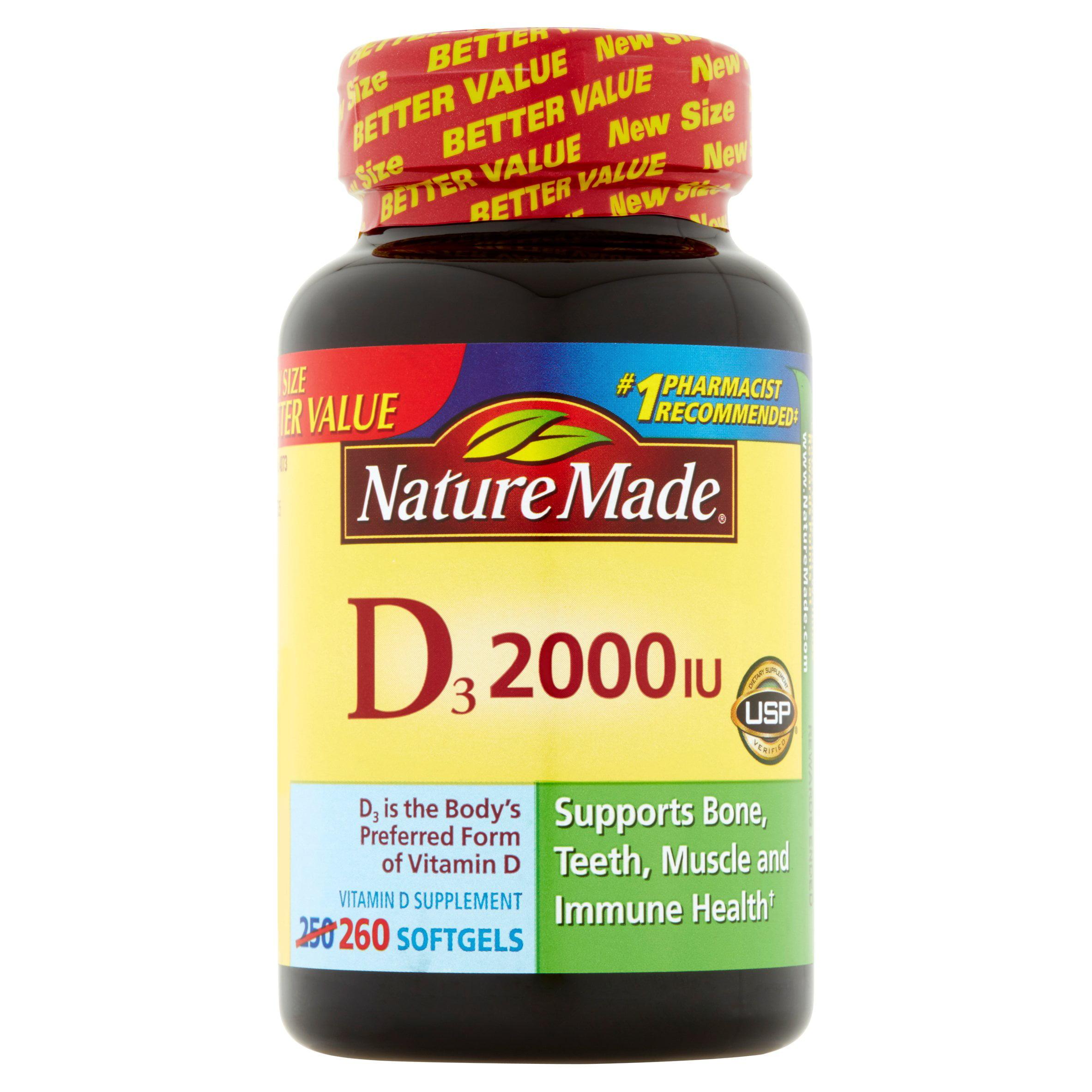 Nature Made D3 Softgels, 2000IU, 260 count