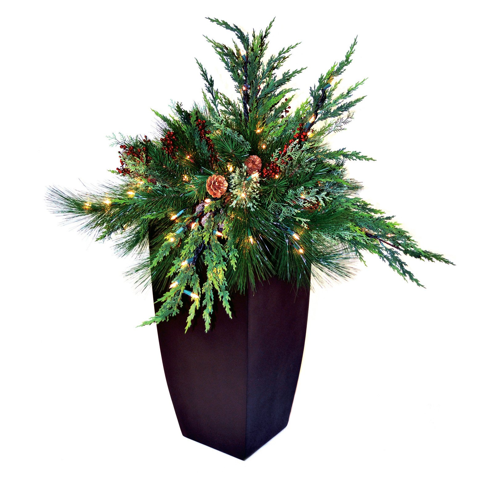 30 in. White Pine Pre-lit LED Arrangement with Container - Battery Operated