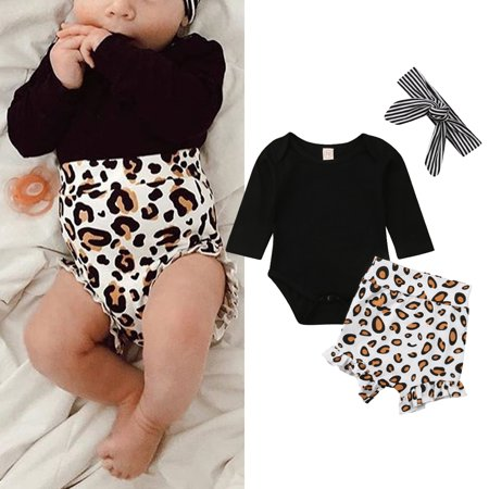3PCS Toddler Kids Baby Girl Infant Clothes Romper Tops Leopard Print Pants Outfits