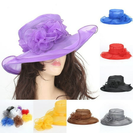 Fashin Women Dress Church Wedding Kentucky Derby Wide Brim Foldable Sun Hat - Yellow Derby Hat
