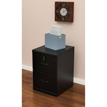 2 Drawer Vertical Wood Lockable Filing Cabinet, Black ...