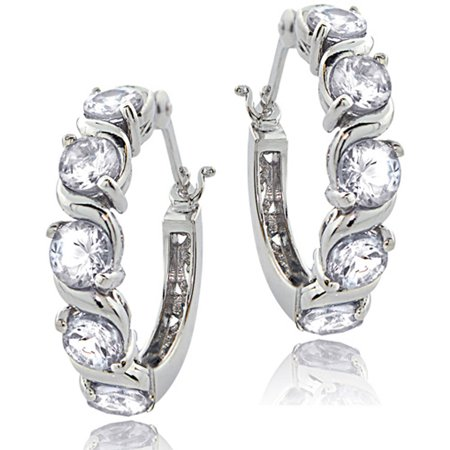 Tennis CZ Sterling Silver Hoop Earrings Sports Tennis Earrings