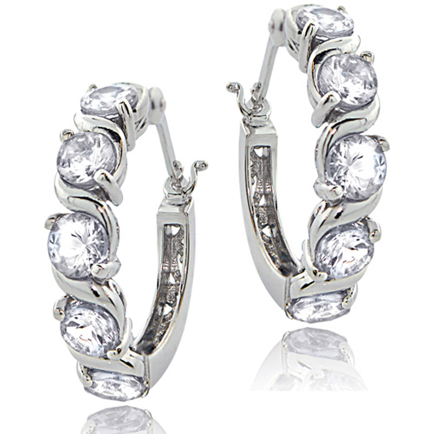 Tennis CZ Sterling Silver Hoop Earrings