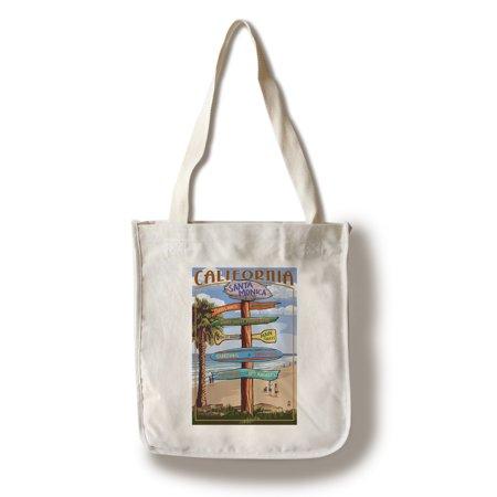 Santa Monica, California - Destination Sign - Lantern Press Poster (100% Cotton Tote Bag - (Shopping Mall Santa Monica)