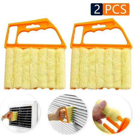 2pcs Blind Cleaner Air Conditioner Mini Brush Window Contacts Blade Cleaning Vertical Duster With 7 Slat Handheld Household Tool Washable Dust