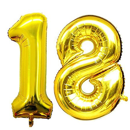 Balloon 18th Birthday 40 Inch Giant Foil Balloon Birthday Decor For Party - 18th Birthday Ballons