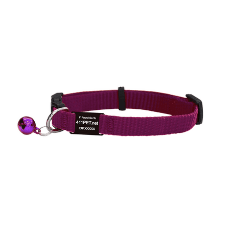 Blue Frog Track N Guard 1X Protective Break Away Cat Collar & I.D. Tag, Purple