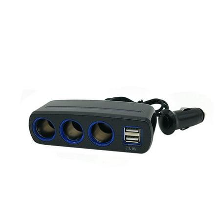 Uninex 3-Socket Cigarette Lighter Charger Adapter DC 12V/24V 120W Car Charger with 3A 2-Port USB