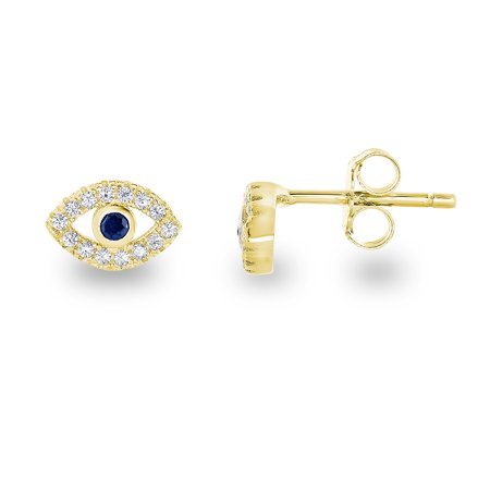 Symbol Earrings - 14k Yellow Gold Plated Sterling Silver Cubic Zirconia Mini Evil Eye Jewish Symbol Stud Earrings