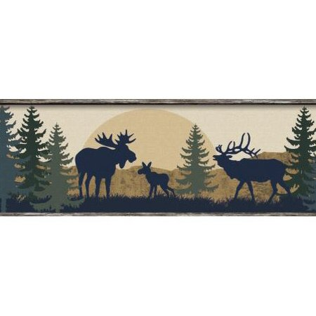 879355 Moose Bear and Elk Silhouettes Wallpaper Border BP8395bd