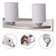 Goplus 2 Light Glass Wall Sconce Modern Pendant Lampshade Fixture Vanity Metal Bathroom