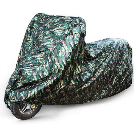 LotFancy 96 Inches Motorcycle Cover - All Weather Deluxe Waterproof Bike Tarp for Scooter Moped Cruiser etc. , Camouflage,  210D Oxford -