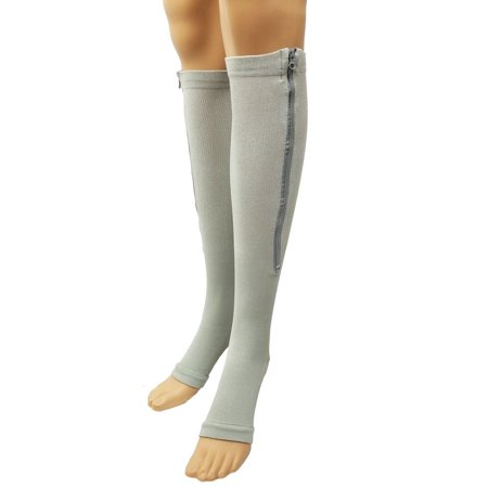a10f0e1d8b Zipper Pressure Compression Socks Support Stockings Leg - Open Toe Knee  High - 20-30mmHg - Helps Circulation, Varicose Veins, Swollen Legs, Zipper  - Gray ...