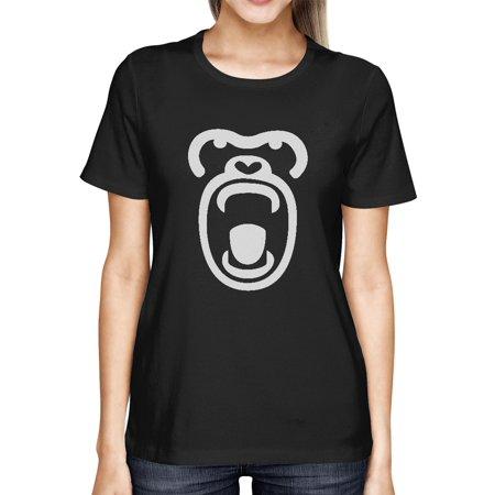 Gorilla Face Tshirt Halloween Tee Cute Ladies Shirt For Zoo (Cute Gorillas)