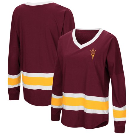 Arizona State Sun Devils Colosseum Women's Marquee Players Oversized Long Sleeve V-Neck Top - Maroon Arizona Ladies Player Series