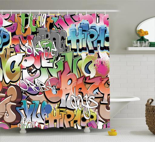Computer Game Graffiti Set Polyester Waterproof Fabric Shower Curtain Liner Hook