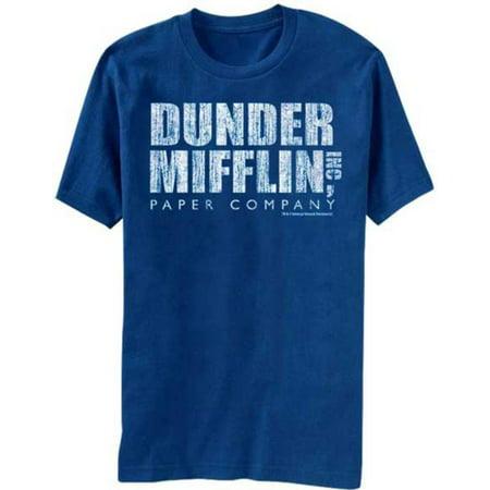 The Office- Distressed Dunder Mifflin Logo Apparel T-Shirt - Blue