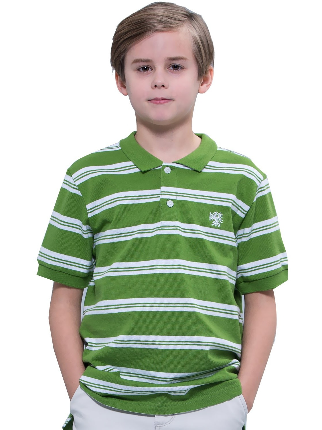 Leo&Lily Big Boys' Kids' Cotton Pique Stripe Polo Shirts T-Shirts