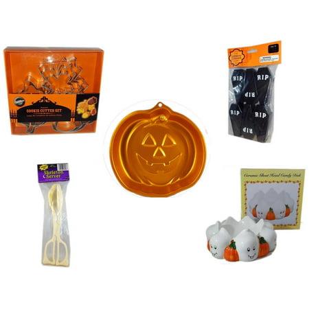 Halloween Fun Gift Bundle [5 Piece] - Wilton Autumn 8-Piece Cookie Cutter Set - Tombstone Containers Party Favors 6 Count - Wilton Iridescents Jack-O-Lantern Pan - Skeleton Server  -  Ceramic Ghost